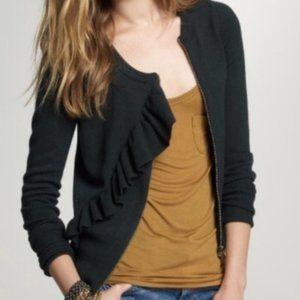 JCREW Green Ruffle Zip Sweater